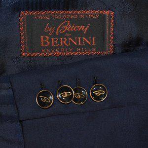 50R Brioni Navy Blue Metal Logo Button Db blazer